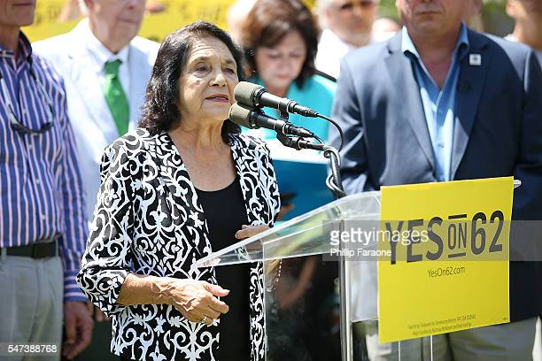 Dolores Huerta speaks on stage during the Yes on Prop 62 coalition announcement at Los Angeles Grand Park on July 14 2016 in Los Angeles California