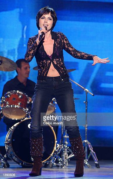 "Dolores O'Riordan, lead singer of ""The Cranberries,"" performs during the Spanish TVE Special Gala show September 16, 2002 in Madrid, Spain."