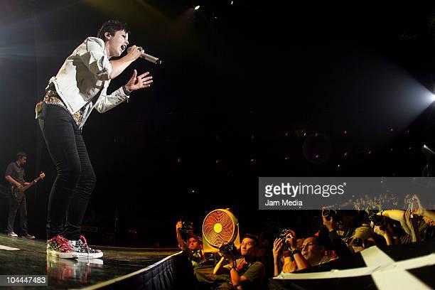 Dolores ORiordan of Irish band Cranberries performs at Arena Monterrey on September 24 2010 in Monterrey Mexico