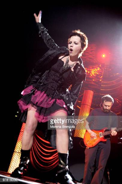 Dolores O'Riordan of Irish rock band The Cranberries performs at Mediolanum forum on March 16 2010 in Milan Italy