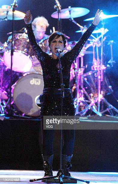 Dolores O'Riordan vocalist of Irish rock band The Cranberries performs on stage during their concert at Taipei World Trade Center Nangang Exhibition...