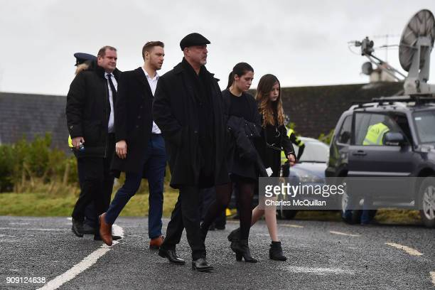 Dolores O'Riordan's exhusband Don Burton and their children Donny Molly and Dakota Burton arrive for Dolores O'Riordan's funeral at St Ailbe's parish...