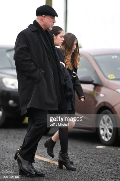 Dolores O'Riordan's exhusband Don Burton and their children Molly Burton and Dakota attend the funeral of Dolores O'Riordan at St Ailbe's parish...