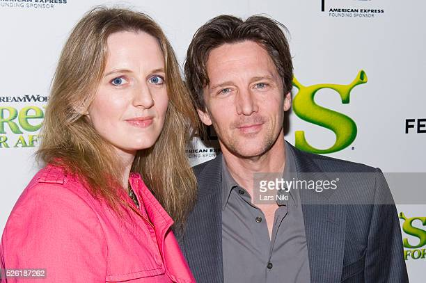 "Dolores Rice and Andrew McCarthy attend the ""Shrek Forever After"" New York premiere at the Ziegfeld Theater in New York City."