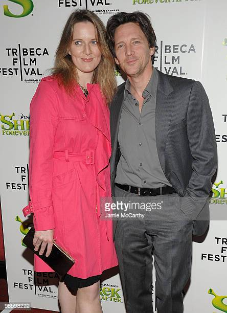 "Dolores Rice and Andrew McCarthy attend the ""Shrek Forever After"" premiere during the 9th Annual Tribeca Film Festival at the Ziegfeld Theatre on..."