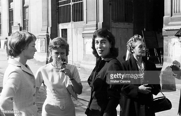 Dolores Ruspoli. 10 octobre 1956- Portrait de Dolorès RUSPOLI au mariage de Claude RABBANIT. Portrait en compagnie d'autres dames.
