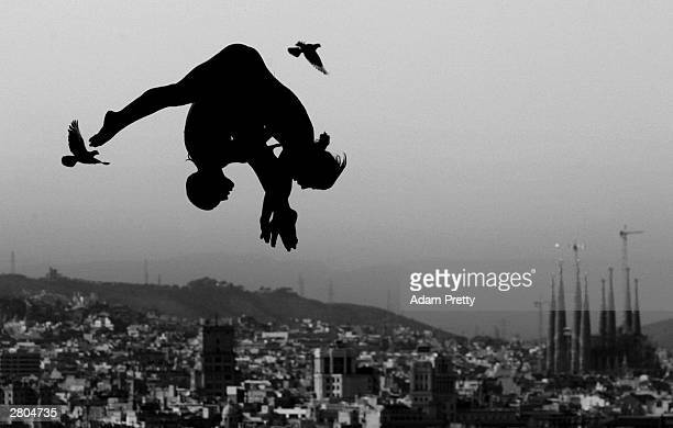 Dolores Saez de Ibarra Leire Santos of Spain Synchronised divers fly with the pigeons during training before the start of the 2003 World Swimming...
