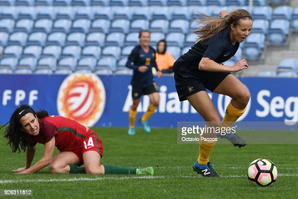 Dolores Silva of Portugal competes for the ball with Emily Condon of Australia during the Women's Algarve Cup Tournament match between Portugal and...