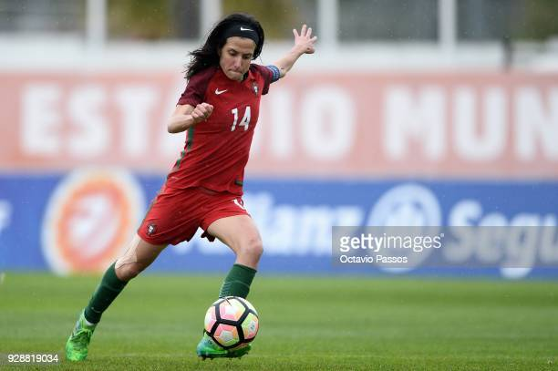 Dolores Silva of Portugal in action during the 3rd place playoff Women's Algarve Cup Tournament match between Australia and Portugal at Municipal...