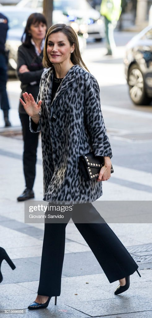 Queen Letizia Attends a Gender Violence Meeting in Madrid