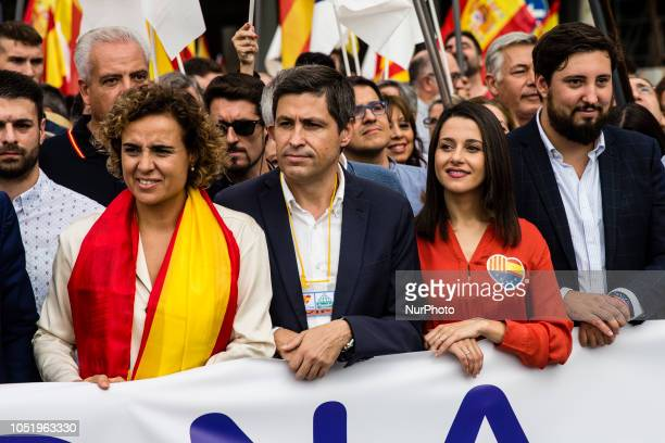 Dolors Montserrat of Partido Popular and Ines Arrimadas of Ciutadans during the Spanish National day celebrations in Barcelona on October 12 2018