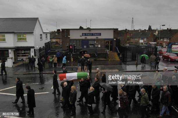 Dolours Price's coffin is carried from her family home Slievegallion Drive in Andersontown West Belfast to St Agnes Church and then onto Milltown...