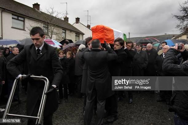 Dolours Price's coffin is carried from her family home Slievegallion Drive in Andersontown West Belfast by her two sons Danny and Oscar at front and...