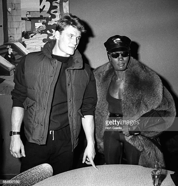 Dolph Lundgren and Grace Jones attend Dolph Lundgren on December 31 1983 at Kamikaze Club in New York City