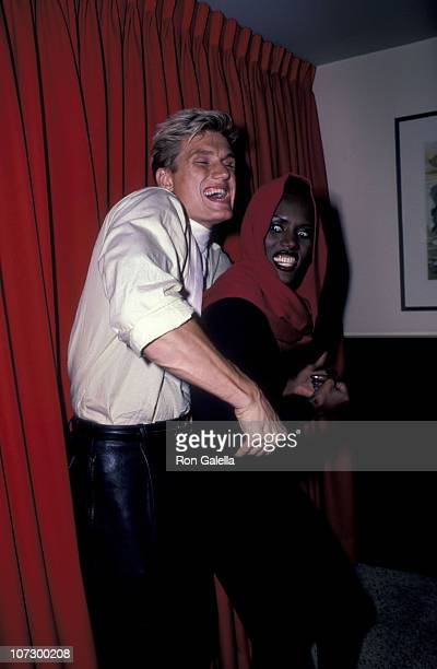 Dolph Lundgren and Grace Jones during Grace Jones Sighting at Les Tuilieries Restaurant in New York City October 8 1985 at Les Tuilieries Restaurant...