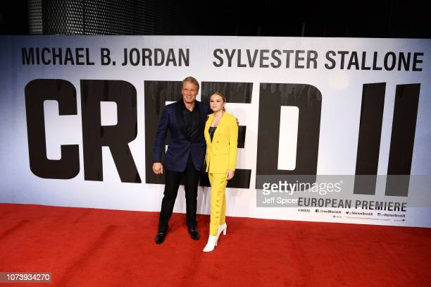 Dolph Lundgren and Greta Lundgren attend the European Premiere of Creed II at BFI IMAX on November 28 2018 in London England