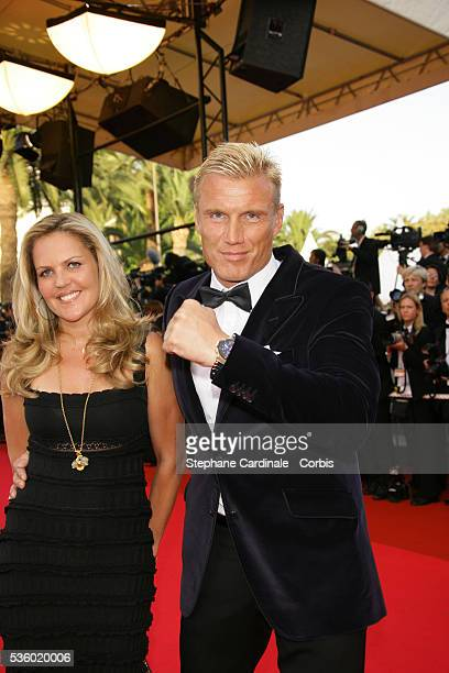 Dolph Lundgren and his wife Anette Qviberg arrive at the premiere of Ocean's 13 during the 60th Cannes Film Festival
