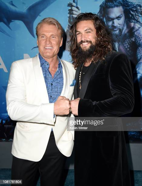 """Dolph Lundgren and Jason Momoa attends the premiere of Warner Bros. Pictures' """"Aquaman"""" at TCL Chinese Theatre on December 12, 2018 in Hollywood,..."""