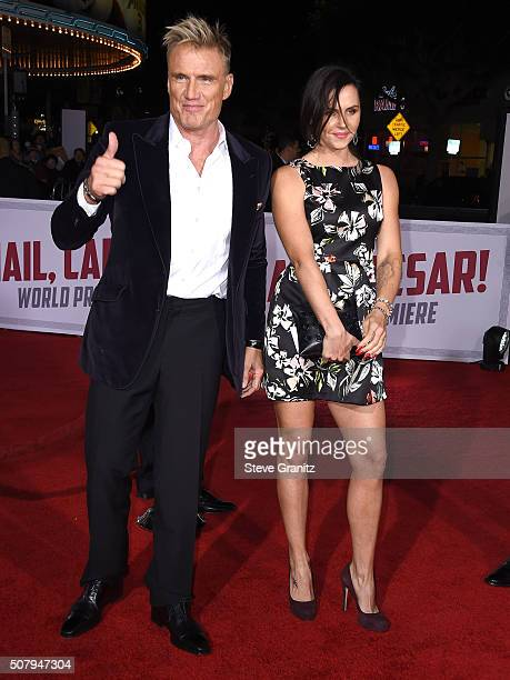 Dolph Lundgren and Jenny Sandersson arrives at the Premiere Of Universal Pictures' Hail Caesar at Regency Village Theatre on February 1 2016 in...