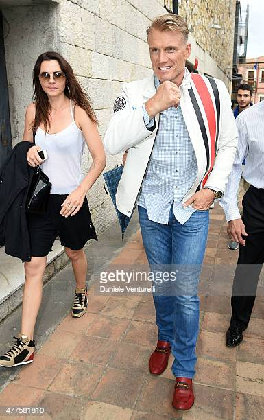 Dolph Lundgren and Jenny Sandersson attend Day 6 of the 61st Taormina Film Fest on June 18 2015 in Taormina Italy