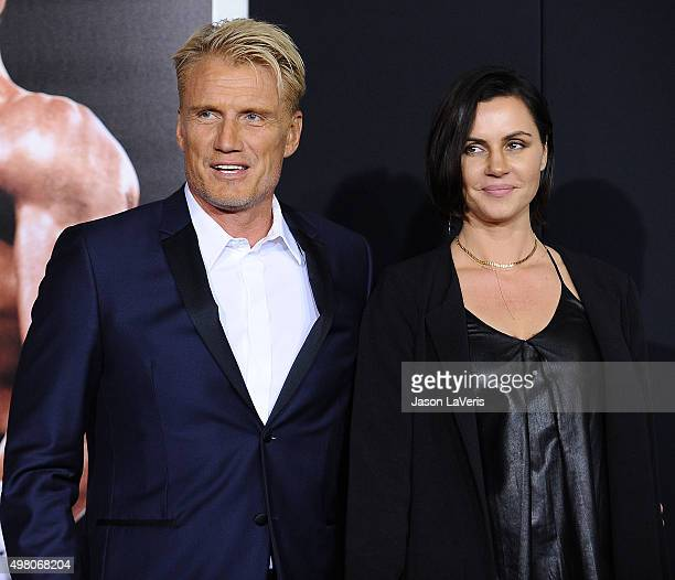 Dolph Lundgren and Jenny Sandersson attend the premiere of Creed at Regency Village Theatre on November 19 2015 in Westwood California