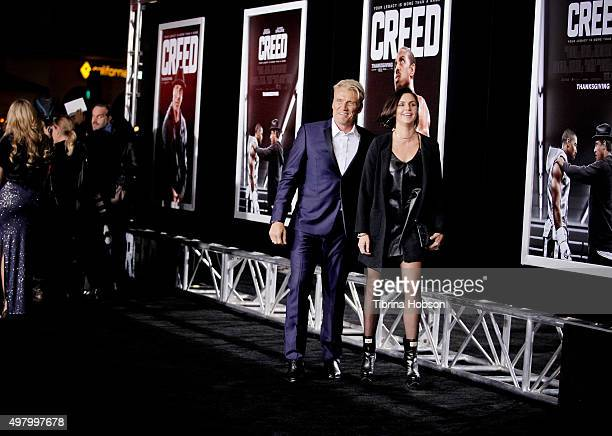 Dolph Lundgren and Jenny Sandersson attend the premiere of Warner Bros Pictures' 'Creed' at Regency Village Theatre on November 19 2015 in Westwood...