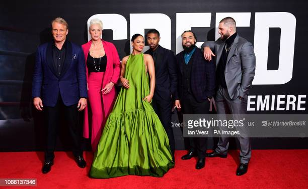Dolph Lundgren Brigitte Nielsen Tessa Thompson Michael B Jordan Steven Caple Jr and Florian Munteanu attending the European premiere of Creed 2 held...