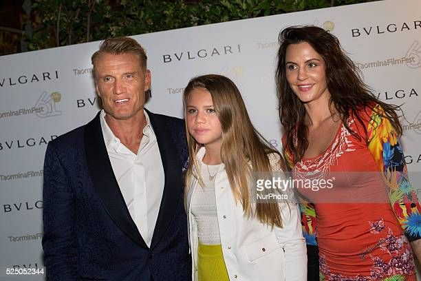 Dolph Lundgren Greta Lundgren and Jenny Sandersson during the 61st Taormina Film Festival in Taormina Sicily Island Italy on June 18 2015