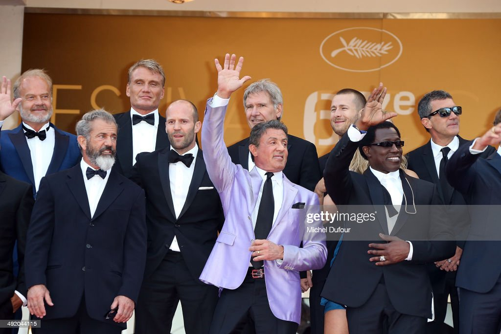 Dolph Lundgren, Harrison Ford, Patrick Hughes, Antonio Banderas, Mel Gibson, Jason Statham, Sylvester Stallone, Ronda Rousey, Wesley Snipes and Kellan Lutz attend the Premiere of 'The Expendables 3' at the 67th Annual Cannes Film Festival on May 18, 2014 in Cannes, France.