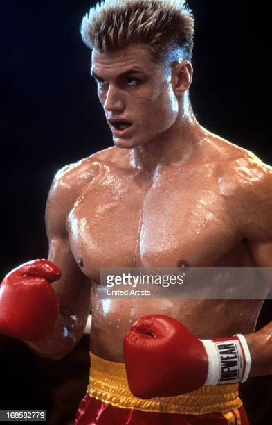 Dolph Lundgren in a scene from the film 'Rocky IV' 1985