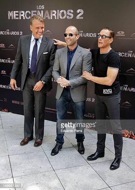 Dolph Lundgren Jason Statham and JeanClaude Van Damme attend 'The Expendables 2' photocall at Ritz hotel on August 8 2012 in Madrid Spain