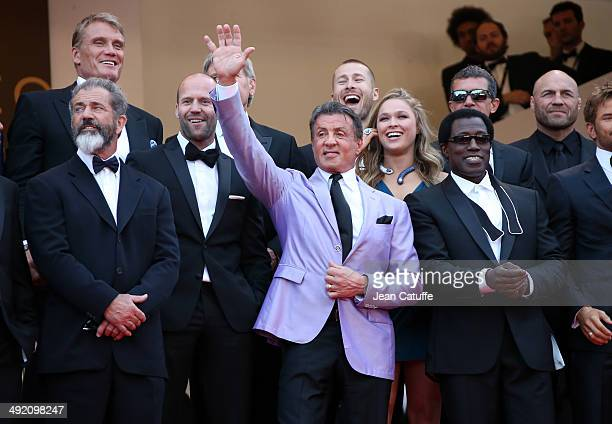 Dolph Lundgren Mel Gibson Jason Statham Sylvester Stallone Ronda Roussey Wesley Snipes attend 'The Expendables 3' premiere during the 67th Annual...