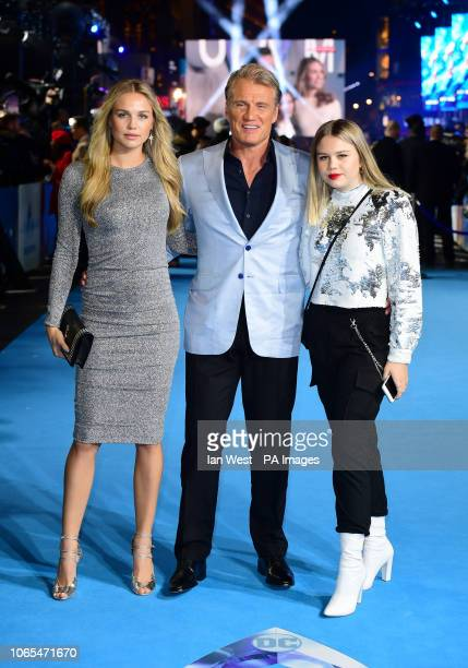 Dolph Lundgren with daughters Ida Lundgren and Greta Lundgren attending the Aquaman premiere held at Cineworld in Leicester Square London