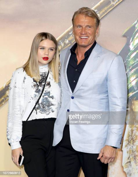 Dolph Lundgren with his daughter Greta Lundgren attend the Aquaman world premiere at Cineworld Leicester Square on November 26 2018 in London England