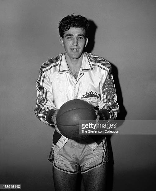 Dolph Schayes of the Syracuse Nationals poses for a mock action portrait circa 1955 at the Onondaga War Memorial Arena in Syracuse New York NOTE TO...