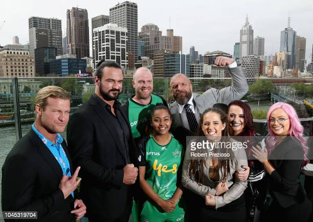 Dolph Ziggler Drew McIntyre Triple H and Riott Squad pose for photos with Melbourne Stars players Alana King and Michael Beer during a WWE Downunder...