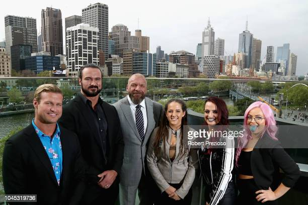 Dolph Ziggler Drew McIntyre Triple H and Riott Squad pose for photos during a WWE Downunder media opportunity at Crown Entertainment Complex on...