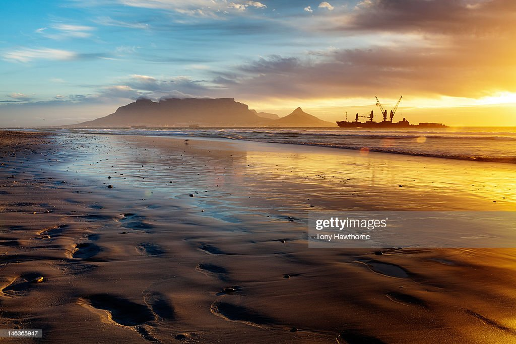 Dolphin beach sunset, Cape town : Stock Photo