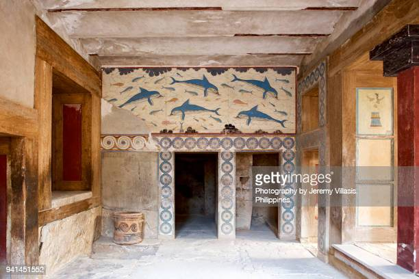 dolphin fresco, knossos palace - herakleion stock photos and pictures