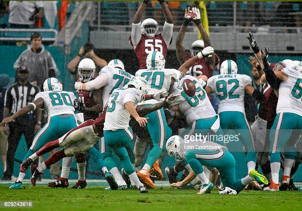 Dolphins kicker Andrew Franks kicks the game winning field goal during an NFL football game between the Arizona Cardinals and the Miami Dolphins on...