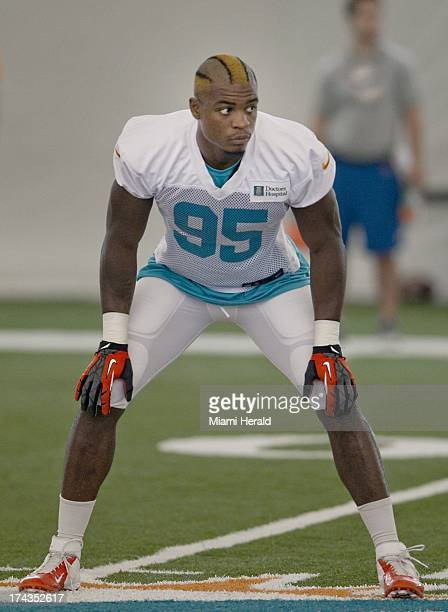 Dolphins rookie Dion Jordan in kick coverage during Miami's training camp in Davie, Florida, Wednesday, July 24, 2013.