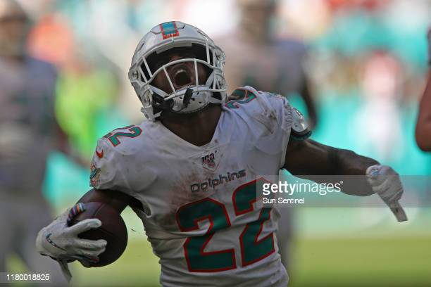 Dolphins running back Mark Walton reacts after picking up yards against the Redskins on Oct 13 2019 in Miami Walton has been suspended for four games...