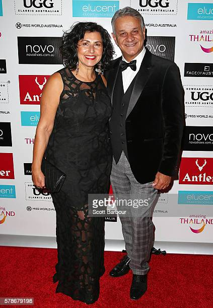 Dom Bagnato and Pia Bagnato attend the Miss World Australia 2016 National Final at Crown Palladium on July 22, 2016 in Melbourne, Australia.