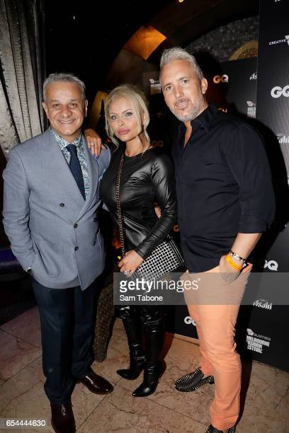 Dom Bagnato, Lady Venus Behbahani-Clarkand Lord James Nicholas-Clark attends the VAMFF 2017 GQ Australia Menswear runway after party on March 17,...