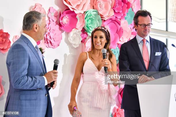 Dom Bagnato, Lana Wilkinson and Hamish McLachlan at the Spring Racing Carnival Launch at Greenfields on September 01, 2017 in Albert Park, Australia.