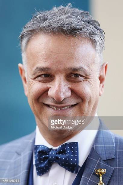 Dom Bagnato, Myer menswear designer, reacts when speaking to media during the Melbourne Cup Carnival launch at Southern Cross Station on September 1,...