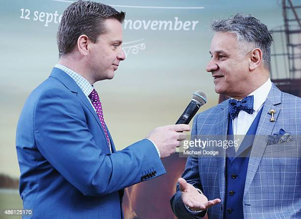 Dom Bagnato, Myer menswear designer, speaks to media during the Melbourne Cup Carnival launch at Southern Cross Station on September 1, 2015 in...