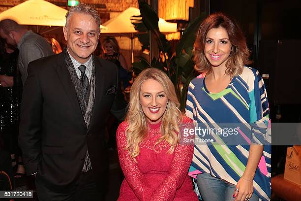 Dom Bagnato , Rhiannon Tracey and Melina Bagnato attend The Next Step Cocktail Event on May 16, 2016 in Melbourne, Australia.
