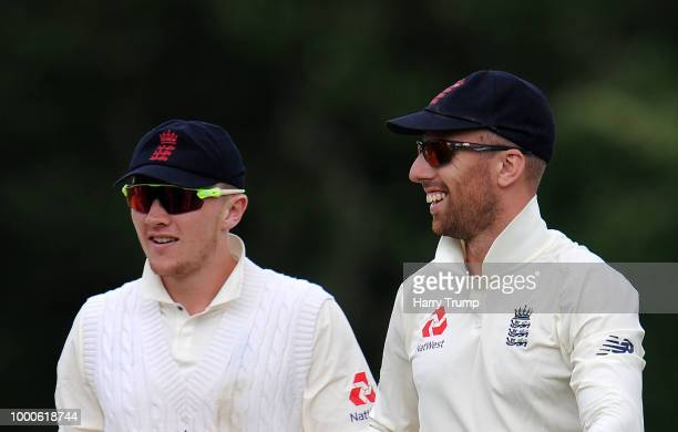 Dom Bess and Jack Leach of England Lions during Day Two of the Tour Match match between England Lions and India A at New Road on July 17 2018 in...