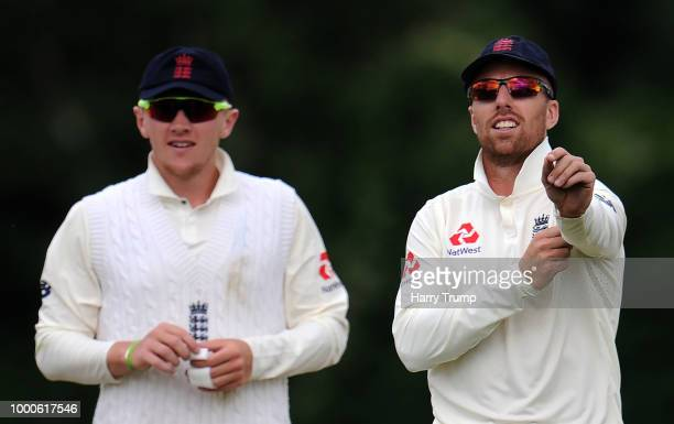 Dom Bess and Jack Leach of England Lions look on during Day Two of the Tour Match match between England Lions and India A at New Road on July 17 2018...